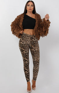 Brown Cropped Shaggy Jacket - Avril