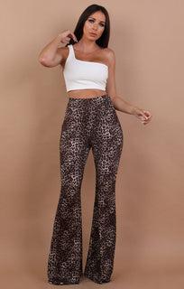 Brown High Waisted Animal Leopard Print Flared Trousers - Olivia