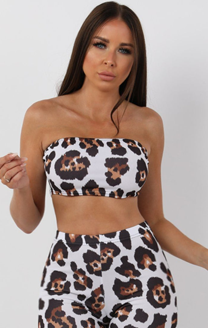 Brown Animal Leopard Bandeau Two Piece Co-ord Set - Bonny