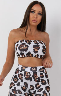 Brown Animal Leopard Print Bandeau Crop Top - Callie