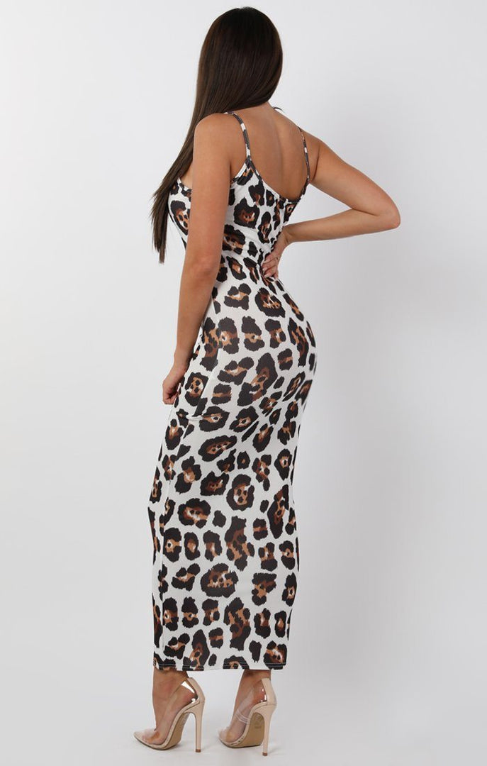 Brown Animal Leopard Print Cami Strap Maxi Dress - Serenna