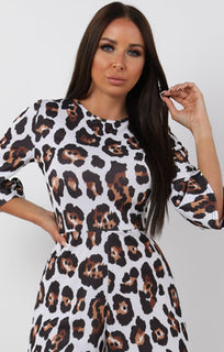 Brown Animal Leopard Print Cropped Playsuit - Cleo