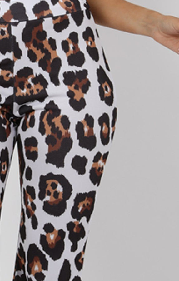 Brown Animal Leopard Print Fit and Flare Trousers - Alana