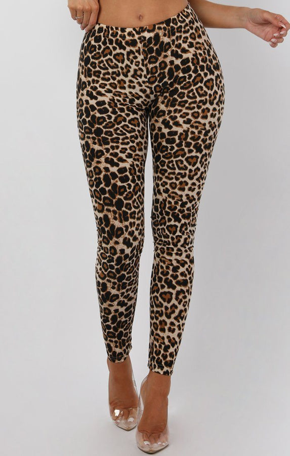 Brown Animal Leopard Print Patterned Leggings - Kayleigh