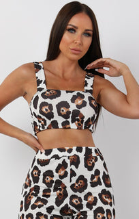 Brown Animal Leopard Print Two Piece Co-ord Set - Katie