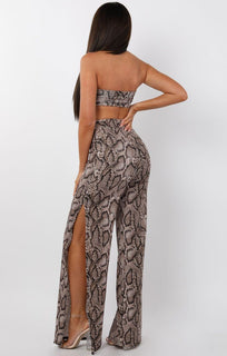 Brown Animal Snake Print Split Leg Two Piece Co-ord Set - Marisol