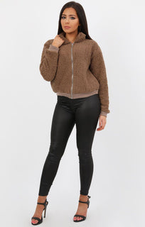 Mocha Teddy Zip Jacket - Castala