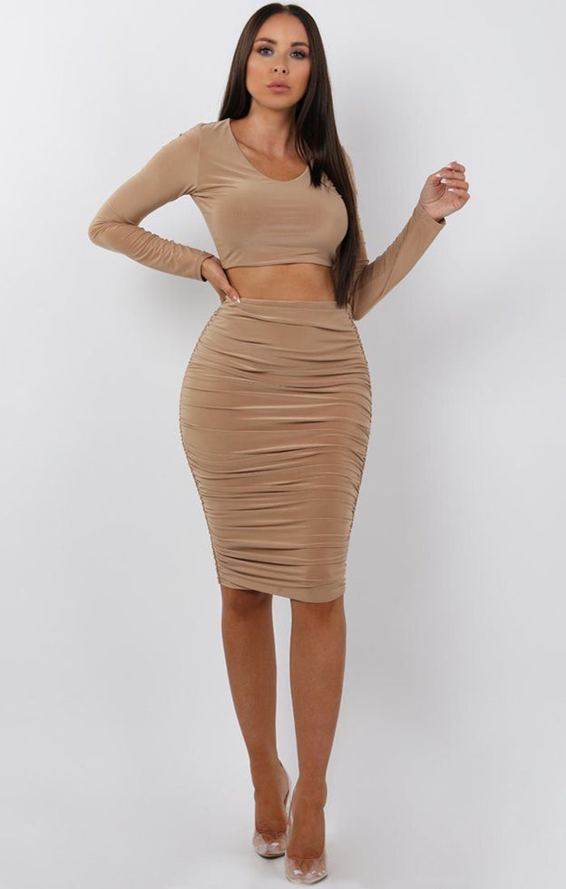 Camel Ruched Two Piece Co-ord Set - Alyssa