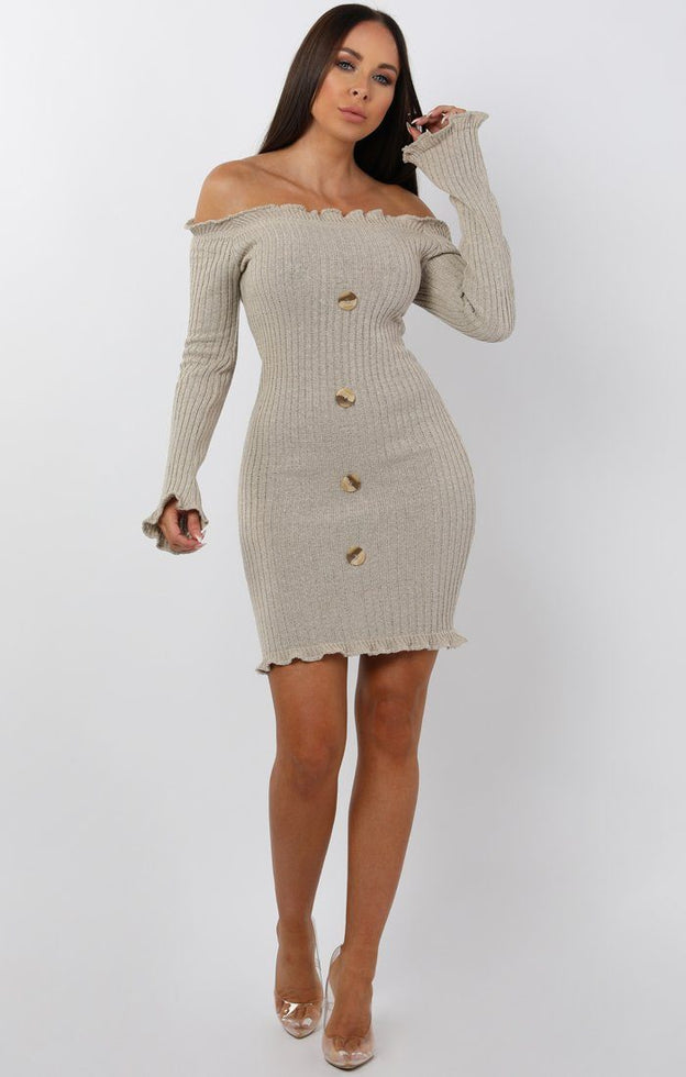 Stone Bardot Frill Button Mini Dress - Trudy