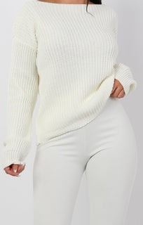 Cream Open Neck Jumper - Hayley