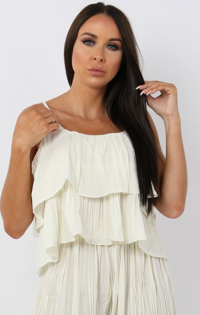 Cream Pleated Ruffle Two Piece Co-ord Set - Katerina