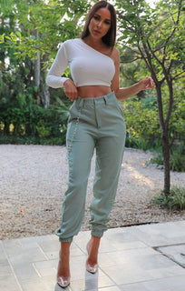 Khaki Cuffed Chain Link Detail Trousers - Ashley