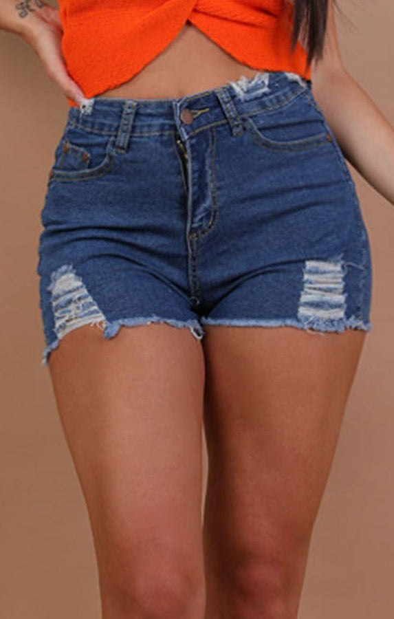 Dark Denim Skinny Fit Shorts - Meghan