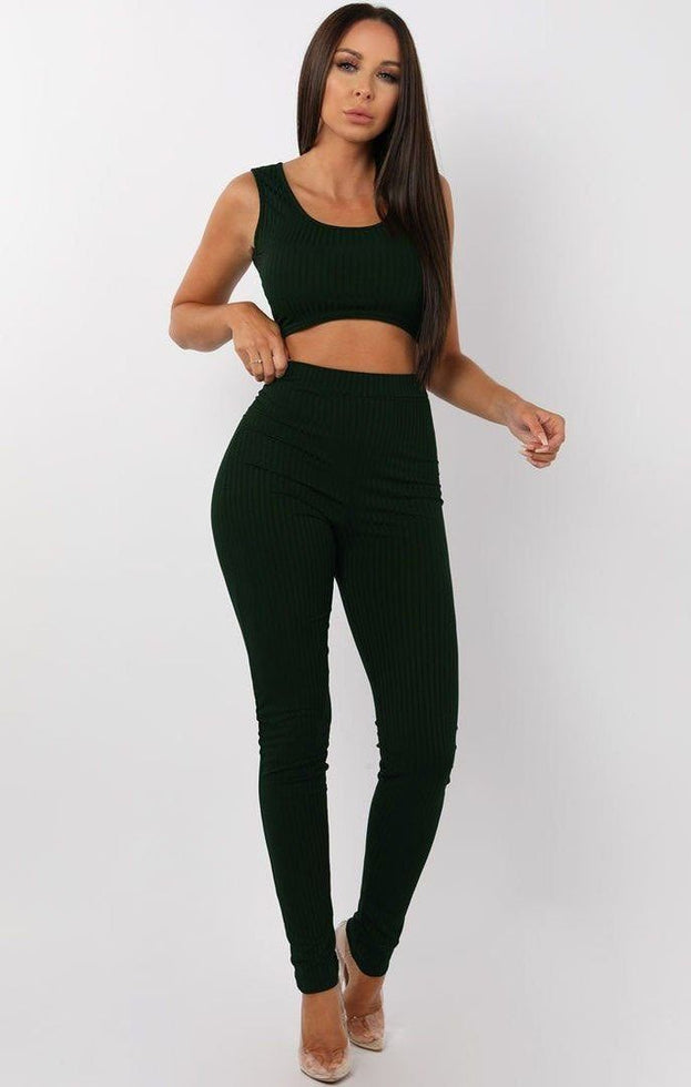 Emerald Ribbed Two Piece Co-ord Set - Amaria