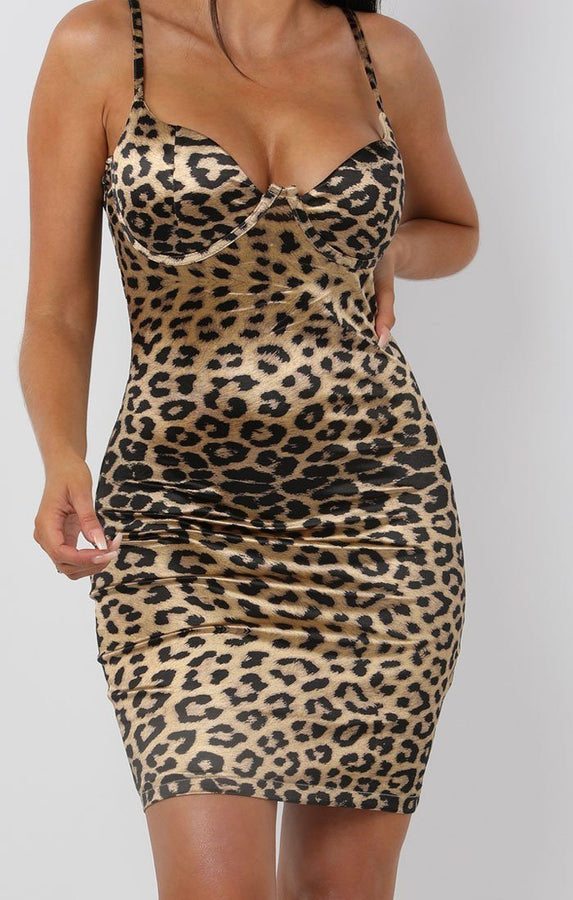 Gold Animal Leopard Print Satin Mini Dress - Roisin