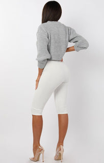 Grey Cable Knit Cropped Jumper - Ivy