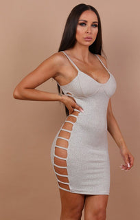 Grey Cami Side Cut Mini Dress - Catriona