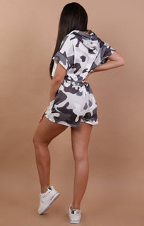 Grey Camo Crop and Shorts Two Piece Co-ord Set - Mia
