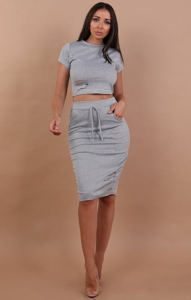 Grey Distressed Jersey High Waist Skirt Two Piece Co-ord Set - Violetta