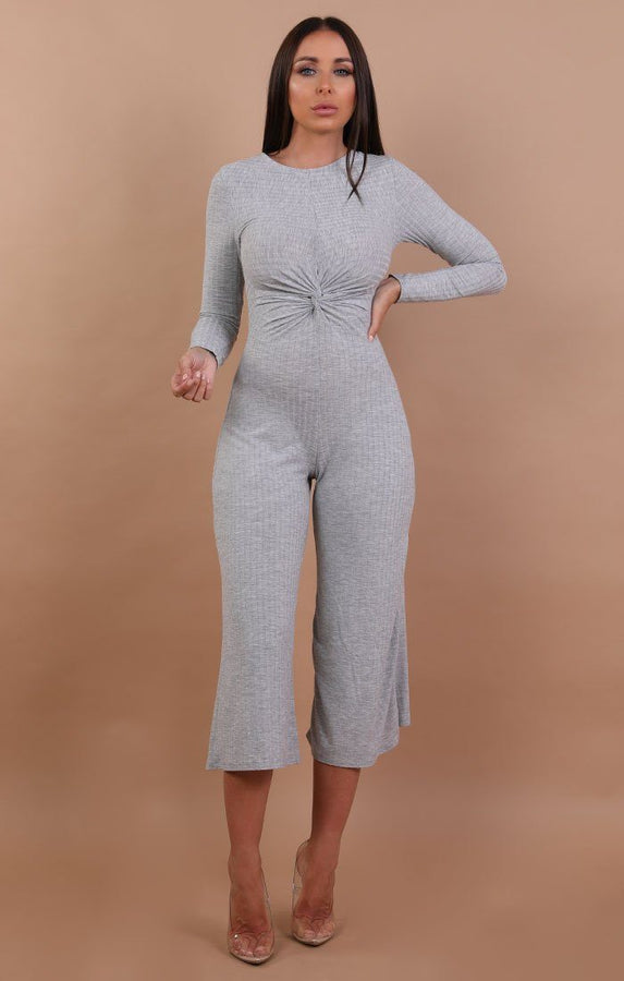 Grey Front Twist Long Sleeve Jumpsuit - Jessica