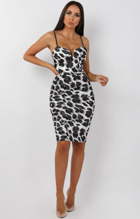 Grey Animal Leopard V-Bar Bodycon Midi Dress - Levene