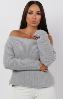 Grey Oversized Knit Jumper - Odetta
