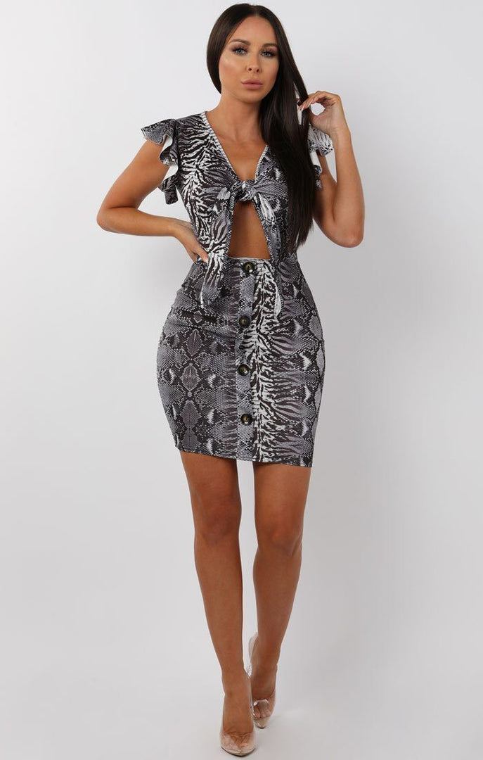 Grey Animal Snake Bow Front Cut Out Mini Dress - Taliha