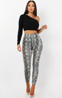 Grey Animal Snake Print Patterned Leggings - Kayleigh