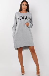 Grey Vogue Oversized Jumper Dress - Galina