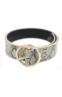 Animal Snake Print Round Buckle Belt - Kiera