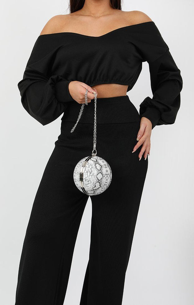 White Animal Snake Print Spherical Clutch Bag - Demi