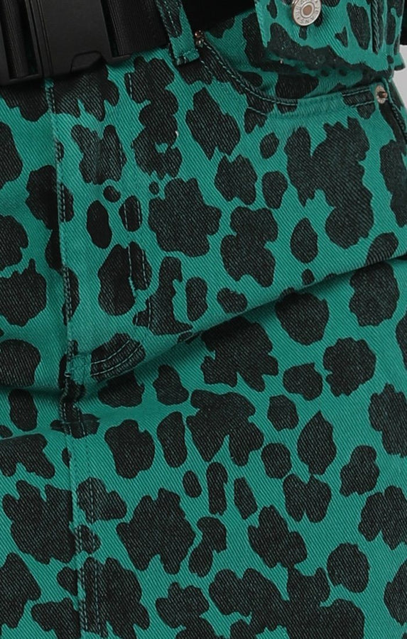 Jade Green Animal Leopard Print Denim Jacket - Samira