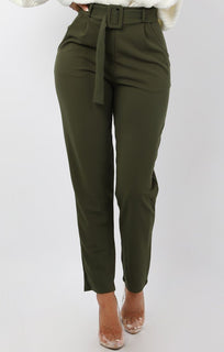 Khaki Belted Tapered Cigarette Trousers - Molly