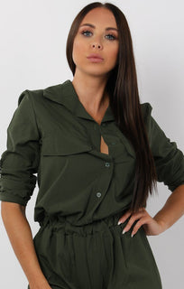Khaki Button Up Shirt Jumpsuit - Charlie