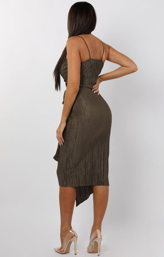Khaki Cami Pleated Wrap Midi Dress - Dolly