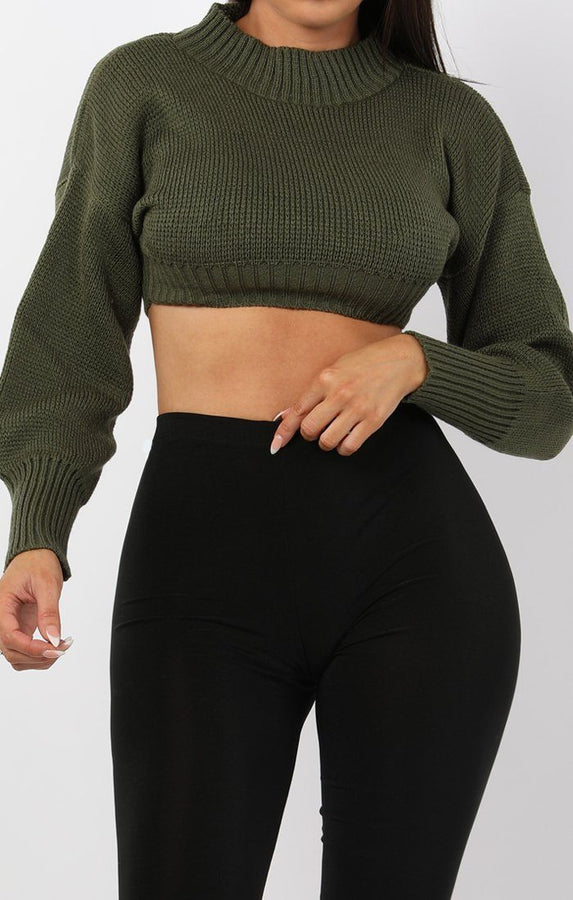 Khaki Cropped Knitted Jumper - Miah