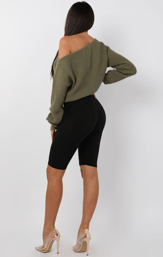 Khaki Off Shoulder Knitted Jumper - Aspen