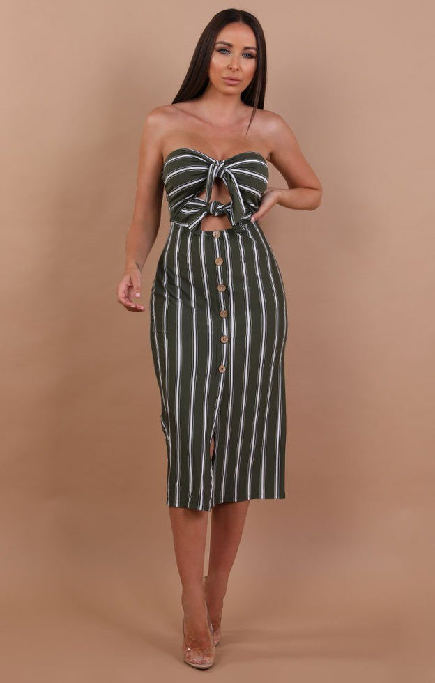 Khaki Striped Bodycon Midi Dress - Demi