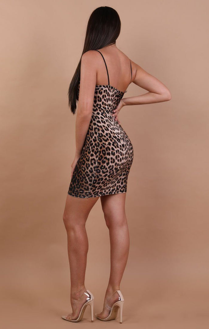 Animal Leopard Print Bodycon Mini Dress - Georgia