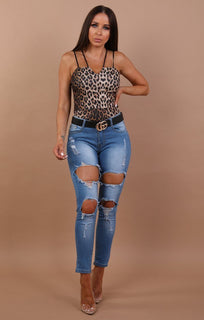 Blue Distressed Denim Jeans - Grace