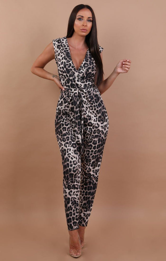 Animal Leopard Print Open Back Jumpsuit - Emma