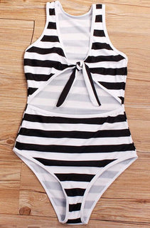 Black Stripe Cut Out Swimsuit - Lily