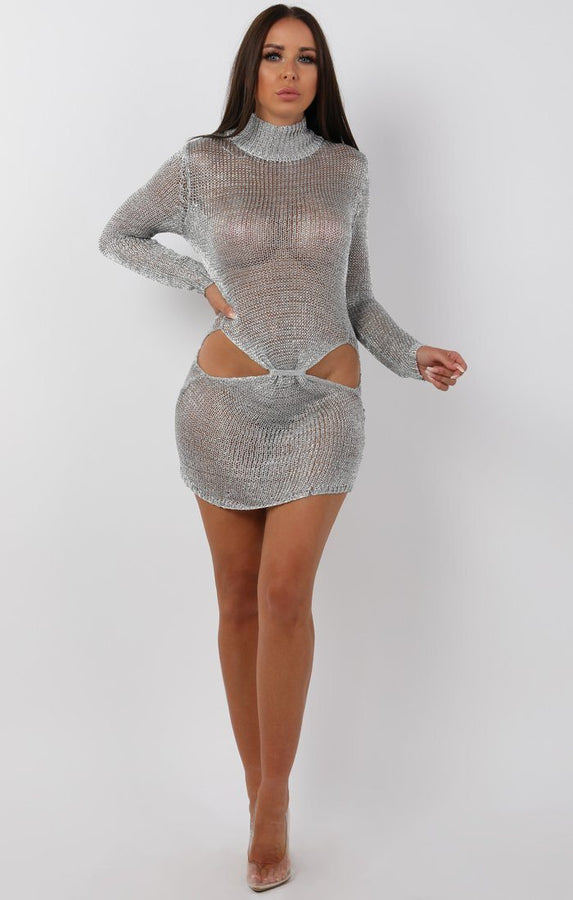 Metallic Knit SIlver Cut Out High Neck Mini Dress - Eva