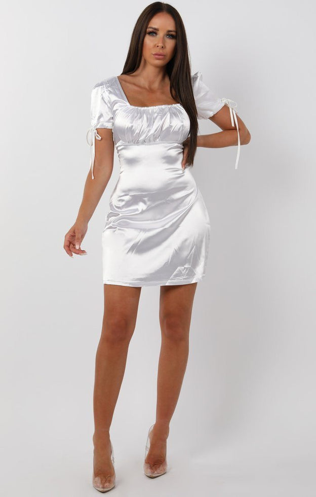 Metallic White Bodycon Mini Dress - Zoe