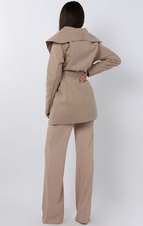 Mocha Waterfall Belted Coat - Daya