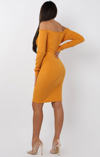 Mustard Bardot Button Front Bodycon Dress - Lyric