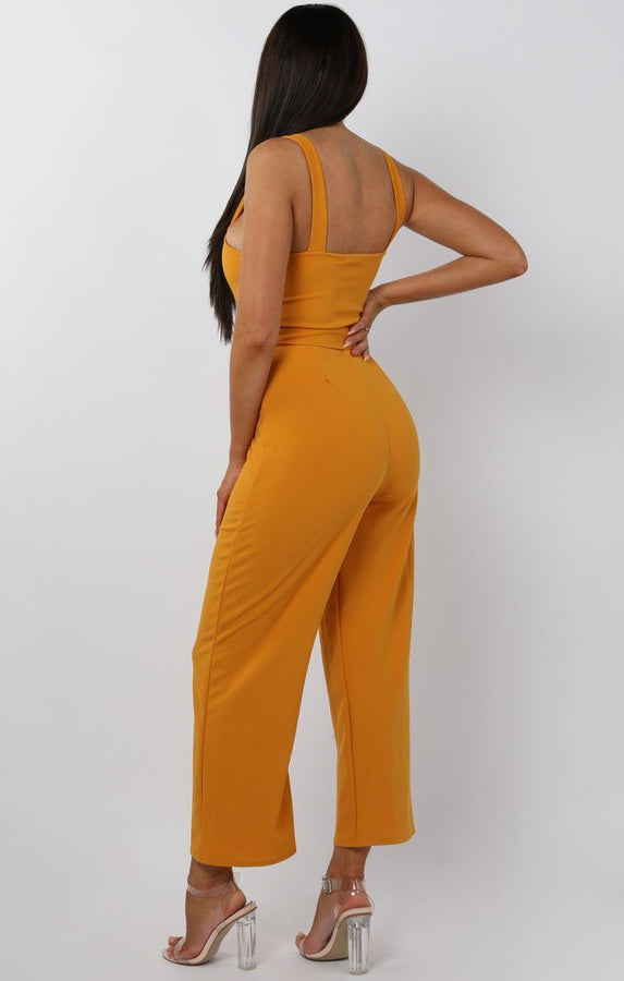 Mustard Button Detail Belted Jumpsuit - Echo