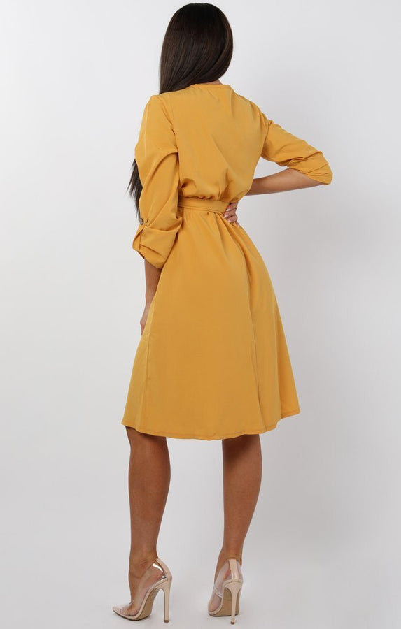 Mustard Button Detail Wrap Dress - jenna