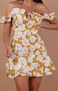 Mustard Floral Bardot Frill Mini Dress - Caitlyn