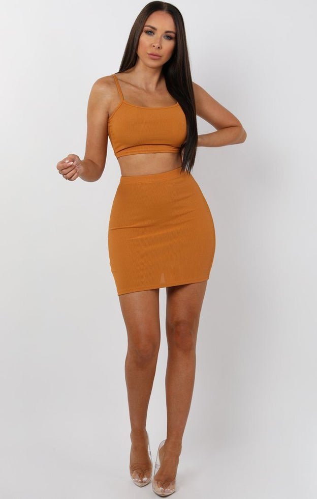 Mustard Mini High Waist Skirt Two Piece Co-ord Set - Aliyah
